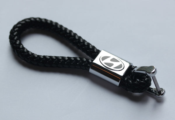 Hyundai Leather Chrome Keychain With 3 Color Choices - MyValveCaps