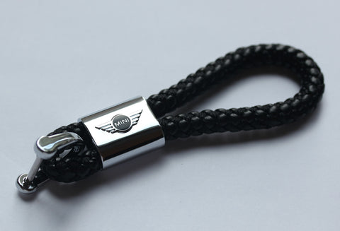 Mini Cooper Leather Chrome Keychain With 3 Color Choices - MyValveCaps
