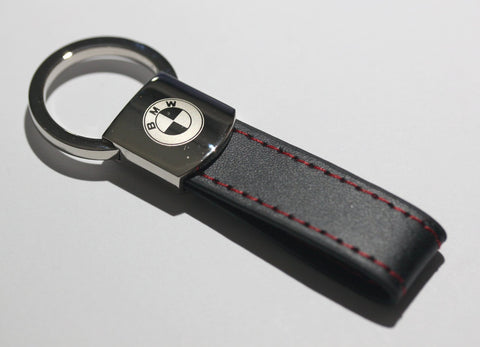 BMW Leather Chrome Red Stitches Key Chain - MyValveCaps