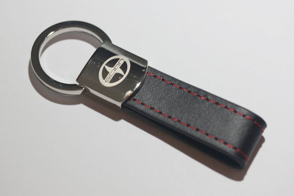 Scion Leather Chrome Red Stitches Key Chain - MyValveCaps