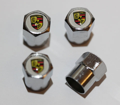 Porsche White Tire Valve Stem Caps - MyValveCaps