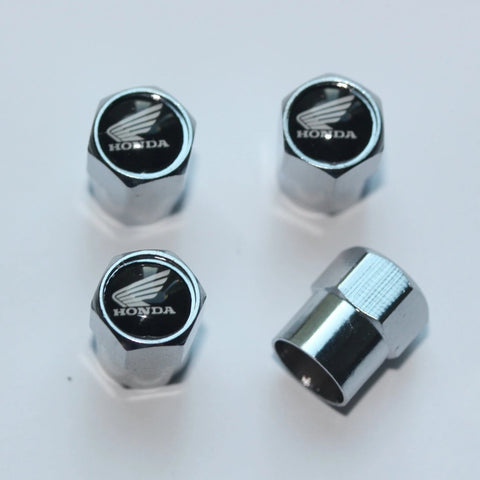 Honda Black & White Wing Motorcycle Tire Valve Stem Caps - MyValveCaps