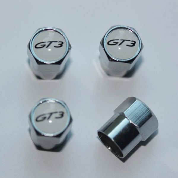 Porsche GT3 White Tire Valve Stem Caps