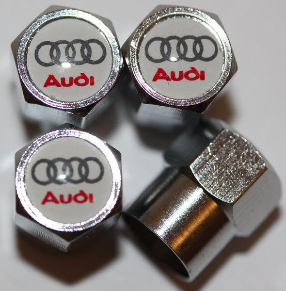 Audi White Tire Valve Stem Caps - MyValveCaps