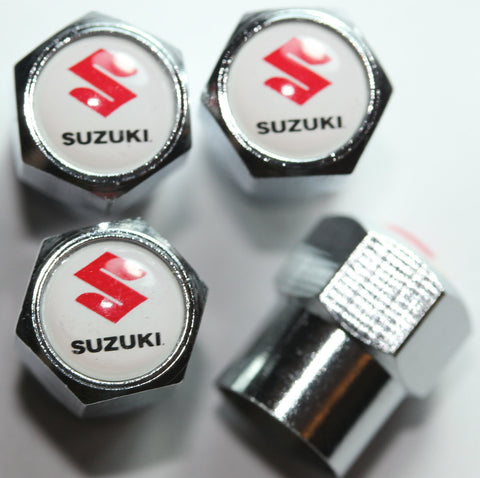 Suzuki White Tire Valve Stem Caps - MyValveCaps