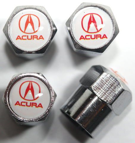 Acura White Tire Valve Stem Caps - MyValveCaps