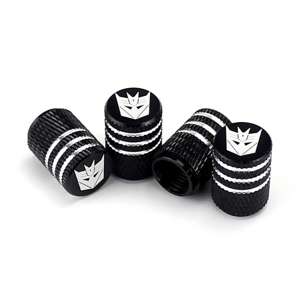 Transformer Decepticon Black Laser Engraved Tire Valve Caps - Extra Spare Cap Total 5 Caps