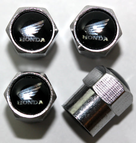 Honda Black Wing Motorcycle Tire Valve Stem Caps - MyValveCaps