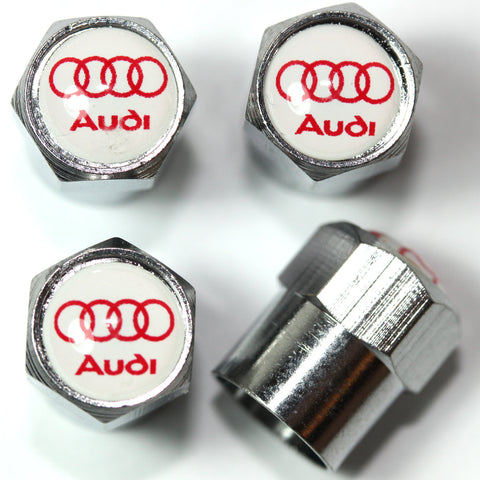Audi Red & White Tire Valve Stem Caps - MyValveCaps