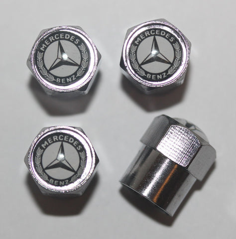Mercedes Benz Black & White Tire Valve Stem Caps - MyValveCaps