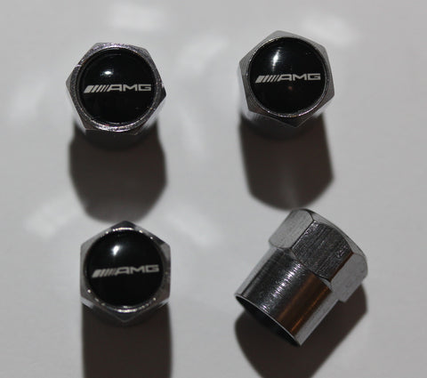 AMG Black & White Tire Valve Stem Caps - MyValveCaps