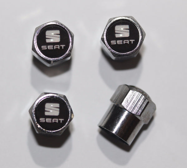Seat Black & White Tire Valve Caps - MyValveCaps