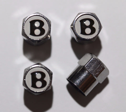 Bentley Logo White Tire Valve Caps