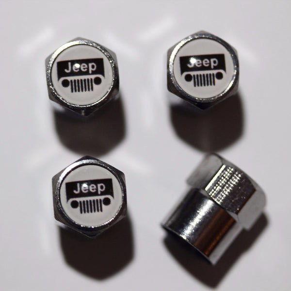 Jeep Grilled White Tire Valve Stem Caps - MyValveCaps