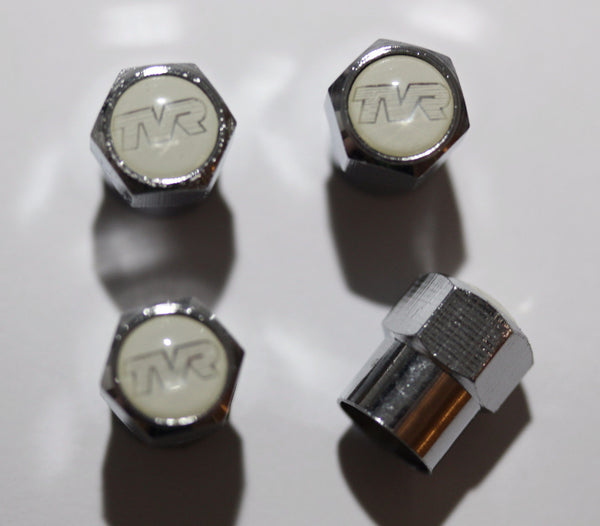 TVR White Tire Valve Stem Caps