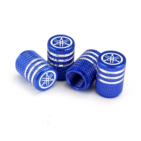 Yamaha Blue Laser Engraved Tire Valve Caps - Extra Spare Cap Total 5 Caps