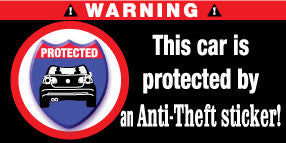 The Car Is Protected By Anti-Theft Sticker Stickers Set of 2 - MyValveCaps