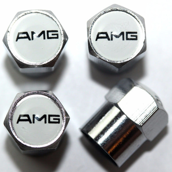 AMG White Tire Valve Stem Caps - MyValveCaps