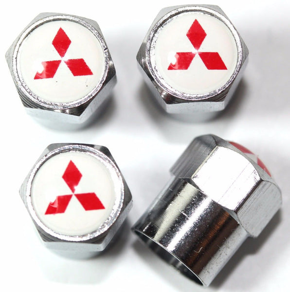 Mitsubishi White Tire Air Valve Caps - MyValveCaps