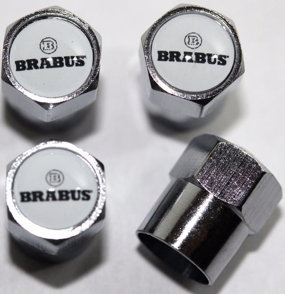 Brabus White Tire Valve Stem Caps - MyValveCaps
