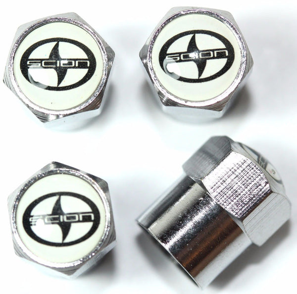 Scion White Tire Valve Caps - MyValveCaps