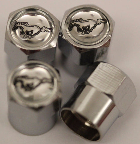 Ford Mustang Silver Tire Air Valve Caps - MyValveCaps