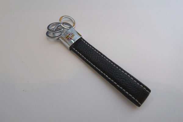 Cadillac Leather Keychain 3 Rings - MyValveCaps