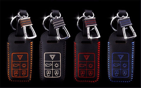 Volvo 5 Buttons Leather Keychain Keycover