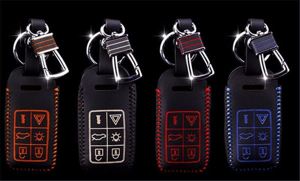 Volvo 6 Buttons Leather Keychain Keycover
