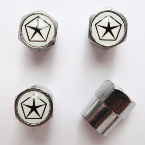 Chrysler Star White Tire Valve Caps - MyValveCaps
