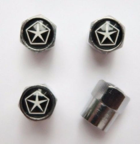 Chrysler Star Black Tire Valve Caps - MyValveCaps