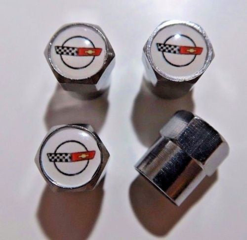 Chevrolet Corvette C4 White Tire Valve Caps - MyValveCaps