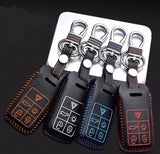 Volvo 5 Buttons Leather Keychain Keycover - MyValveCaps