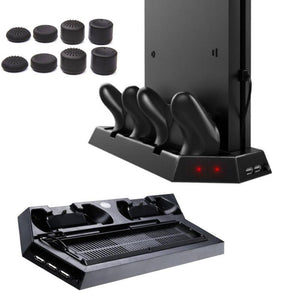 PS4 Slim Vertical Stand with Cooling Fan Charging Stand Dual USB HUB