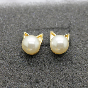 Cute Pearl Cat Head Earrings