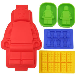 5 Pieces Set of LEGO Minifigures Silicone Ice Trays / Chocolate Molds
