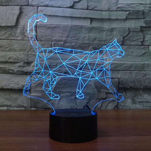 Geometric Cat Walking LED Lamp