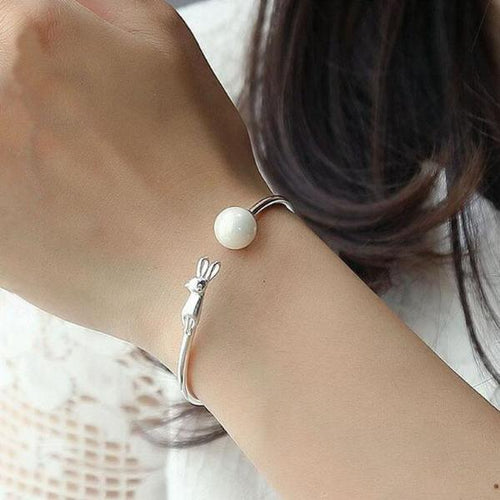 Pearl Catching Kitty Romantic 925 Silver Bracelet