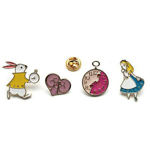4 Pieces Alice in Wonderland Pin Set