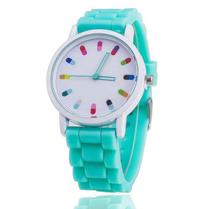 "Bright Silicone Watch with Colorful ""Capsule"" Marks"