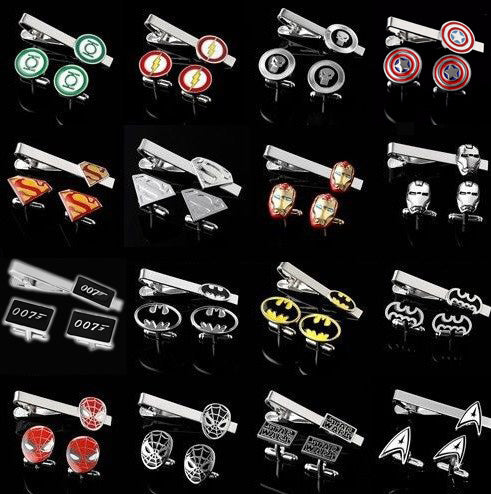 Tie Clip & Cufflinks Superhero Set