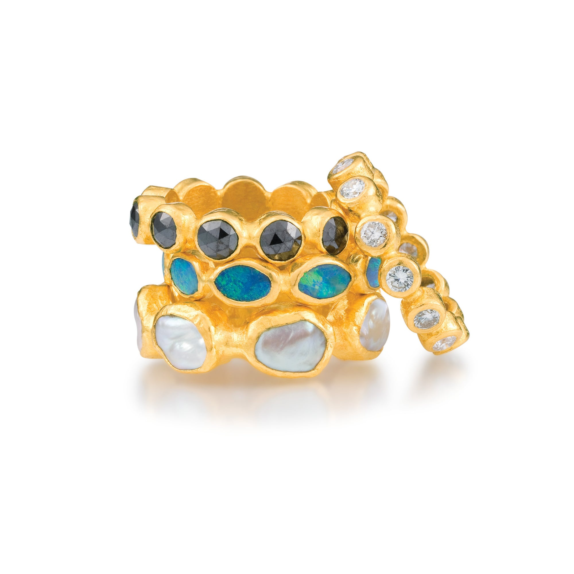 256692f2af6b5 ARA 24k Yellow Gold Stacking Rings with Black Diamond, Opal, Pearl, or  Diamond