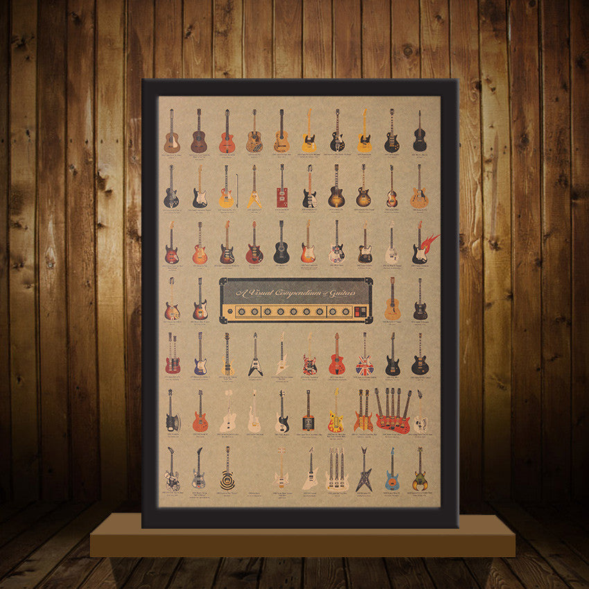 1Pc Vintage Guitar World Poster Wallpaper/Sticker/Home Decor