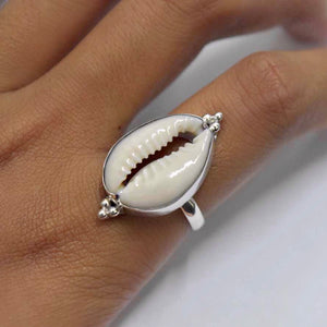 Cowrie Shell Ring STERLING SILVER & 18K GOLD
