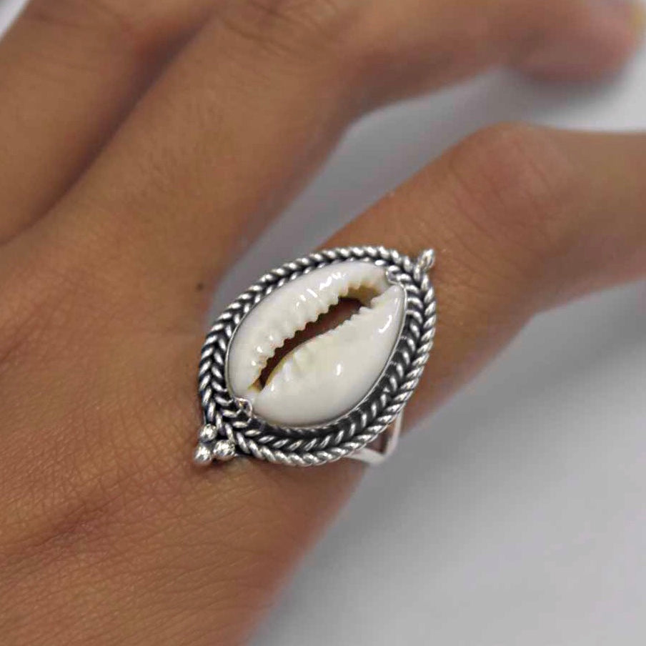 Cowrie Ribbed Ring STERLING SILVER & 18k GOLD