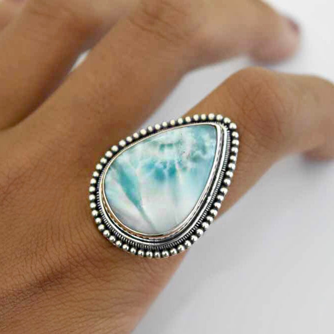 Larimar Ribbed Ring