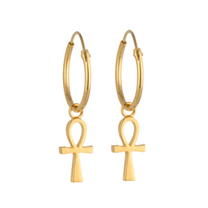 Ankh Earrings STERLING SILVER & 18K GOLD