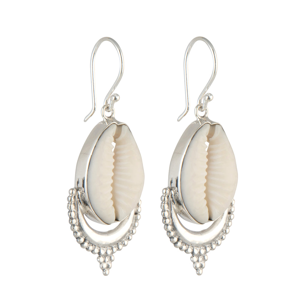 Cowrie Crown Earrings STERLING SILVER & 18k GOLD