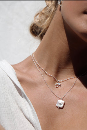 Pearl Heart Necklace STERLING SILVER & 18K GOLD