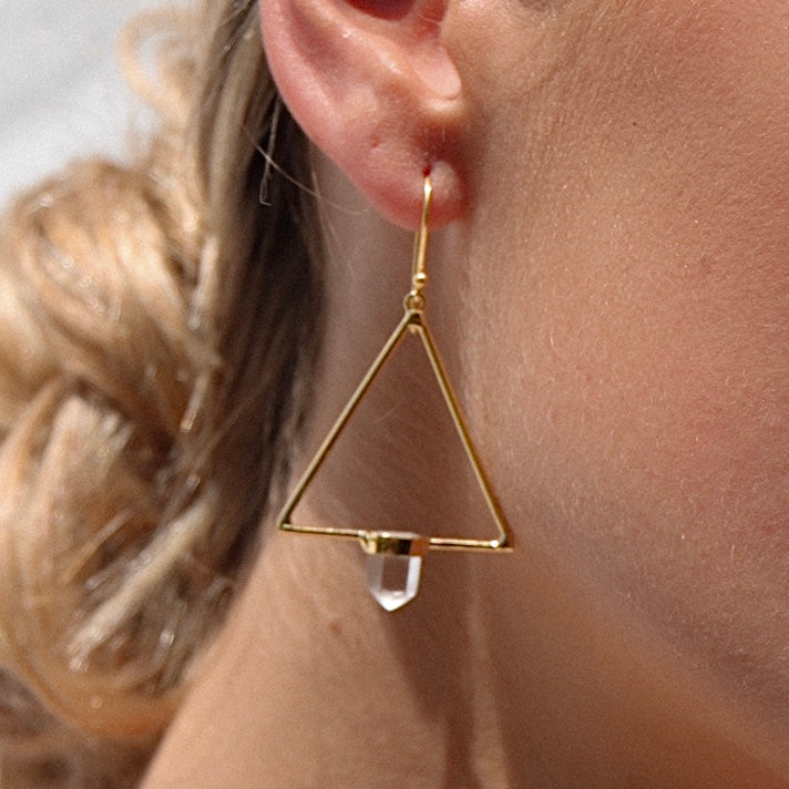 Trilogy Quartz Earrings STERLING SILVER & 18K GOLD
